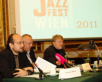 JFW Pressekonferenz 2011: Andreas Hirsch, Fritz Thom/JFW, Dietmar Hoscher/Casinos Austria